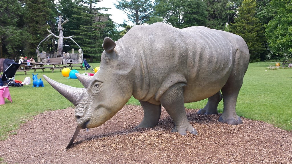 The large rhino stands proud in the play area at Anna's Welsh Zoo.