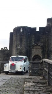 Wedding car at Caerphilly Castle