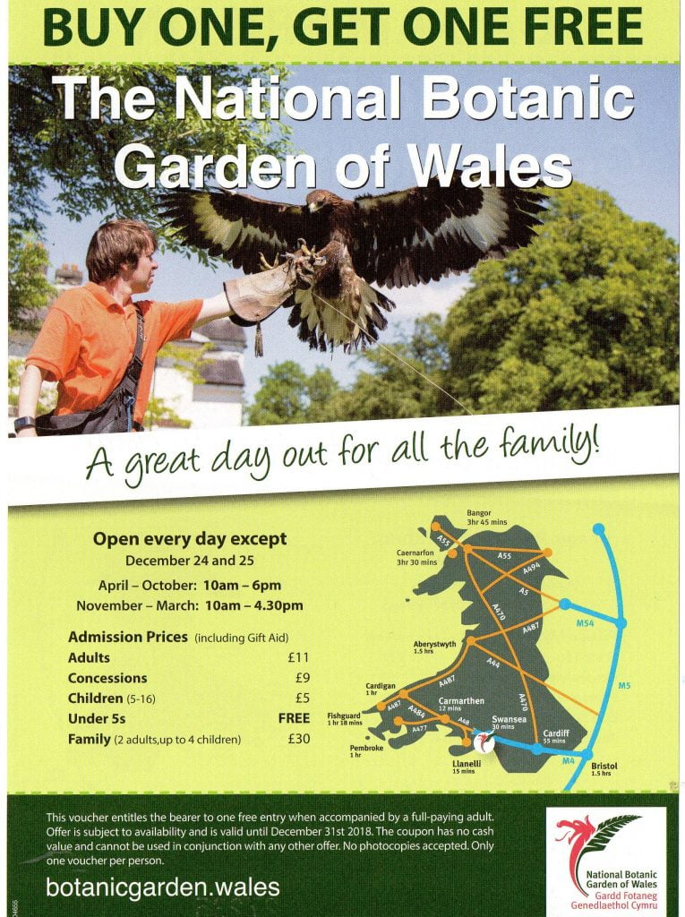 National Botanic Garden Carmarthenshire Discount Vouchers